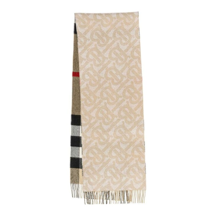 scarves, Burberry, Reversible Check Scarf Cashmere Alabaster
