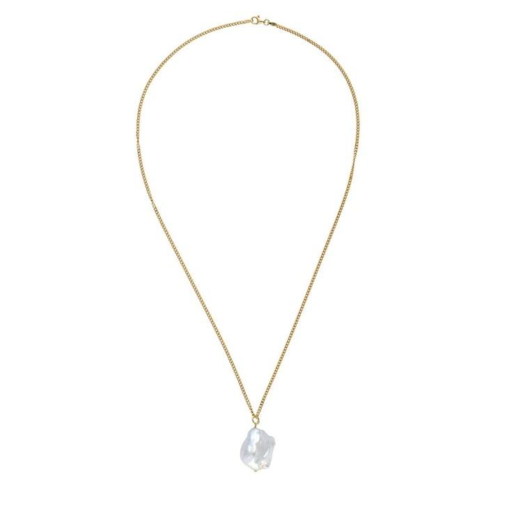 Kette, LLR Studios, Medium Link X Baroque Pearl 50cm Necklace Gold