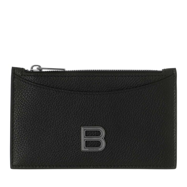 Geldbörse, Balenciaga, Hourglass Credit Card And Coin Holder Leather Black