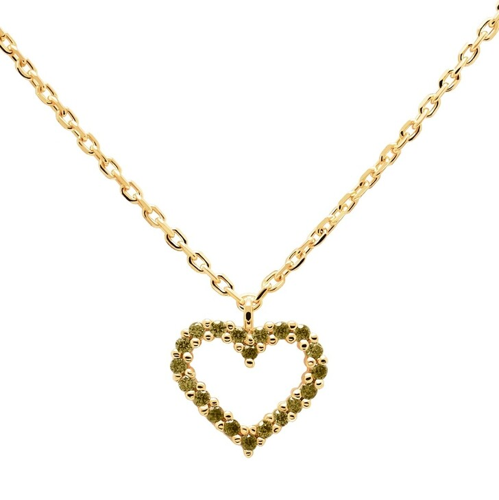 Kette, PDPAOLA, Necklace Heart Olive/Yellow Gold