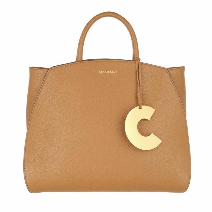bags, Coccinelle, Concrete Handle Tote Bag Caramel