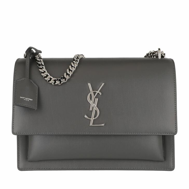 Handtasche, Saint Laurent, Sunset Shoulder Bag Large Leather Storm