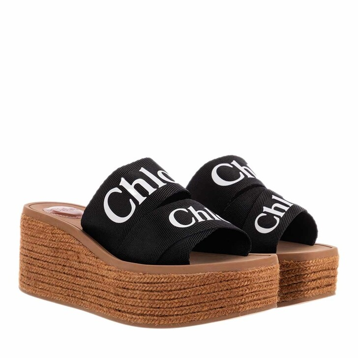 Schuh, Chloé, Woody Wedged Sandals Canvas Black