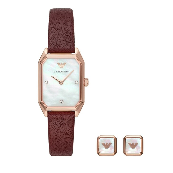 Uhr, Emporio Armani, Two-Hand Leather Watch and Earrings Gift Set Burgundy