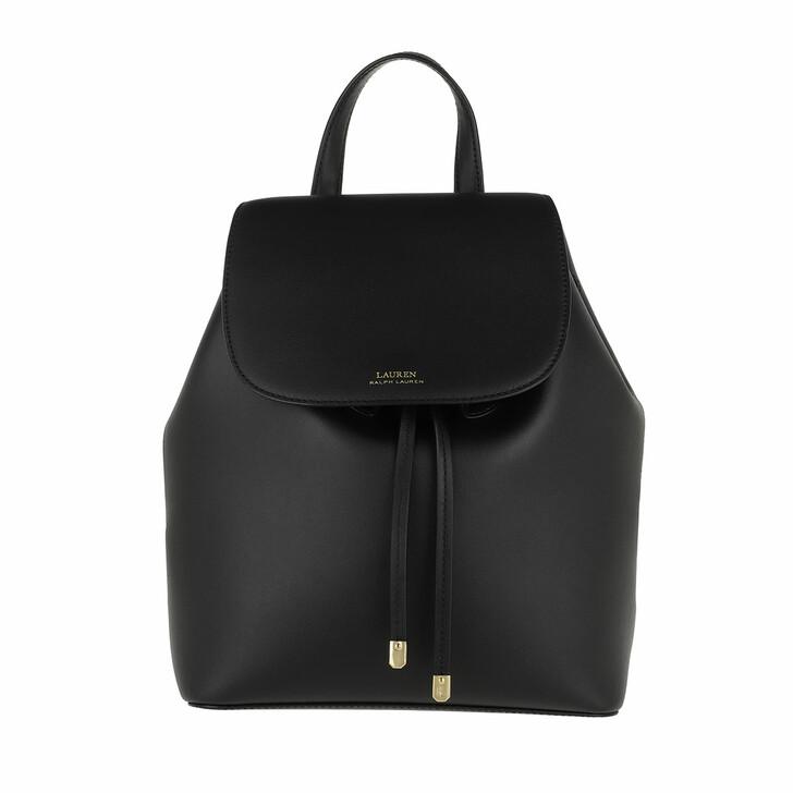 bags, Lauren Ralph Lauren, Flap Backpack Medium Black/Crimson