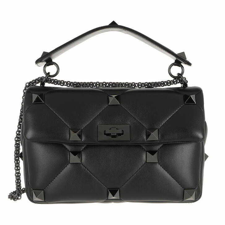 bags, Valentino Garavani, Roman Stud Crossbody Bag With Handle Leather Black