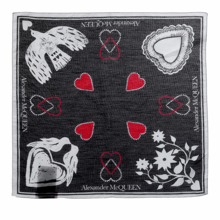 scarves, Alexander McQueen, Mystic Bandana Black/Ivory