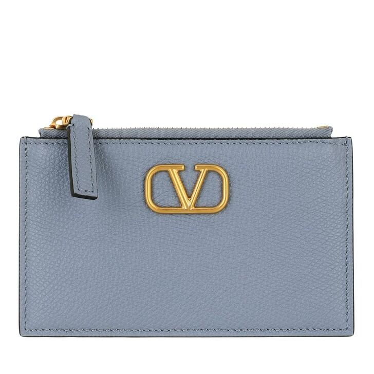 wallets, Valentino Garavani, V Logo Signature Card Holder Leather Niagara Blue