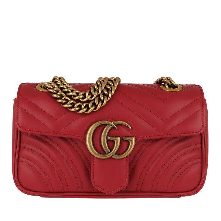 Handtasche, Gucci, GG Marmont Metalassé Mini Bag Hibiscus Red