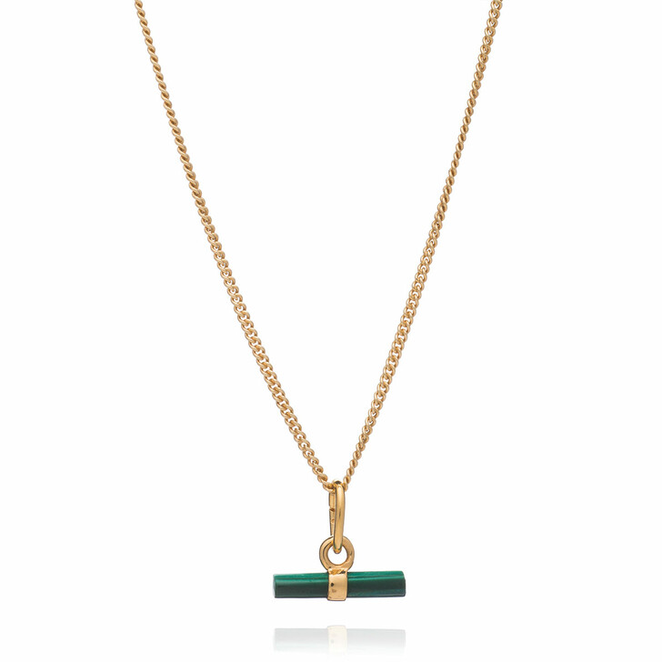 Kette, Rachel Jackson London, Mini Malachite T-Bar Necklace Gold