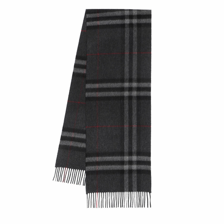 Schal, Burberry, Giant Check Scarf Cashmere Charcoal