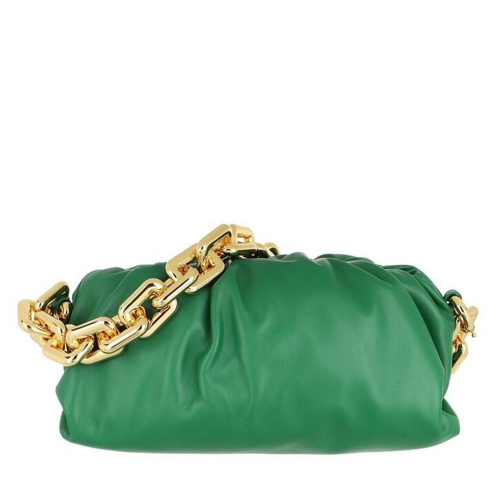 Handtasche, Bottega Veneta, The Chain Medium Pouch Leather Green