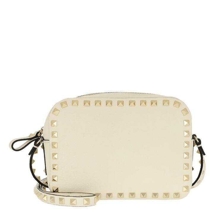 Handtasche, Valentino Garavani, Rockstud Camera Crossbody Bag Light Stone Ivory