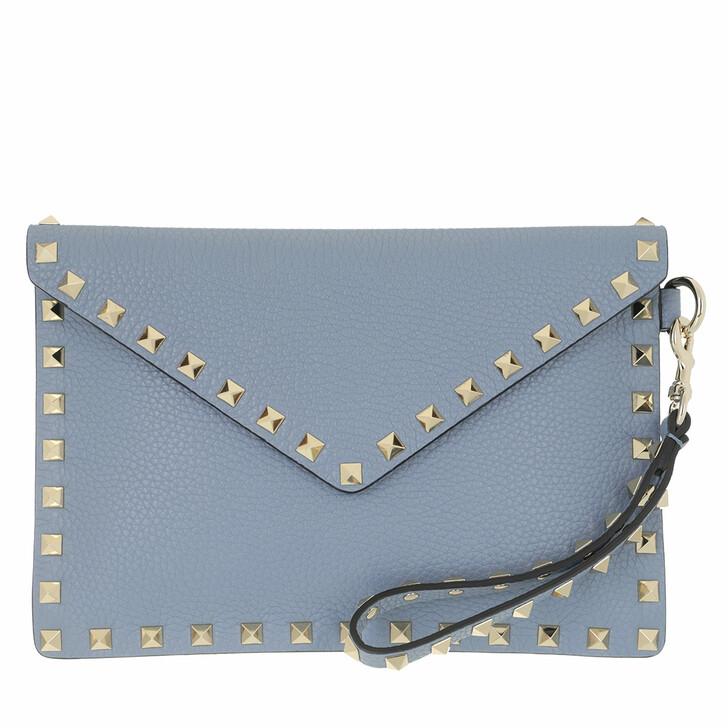 bags, Valentino Garavani, Rockstud Clutch Medium Leather Niagara Blue