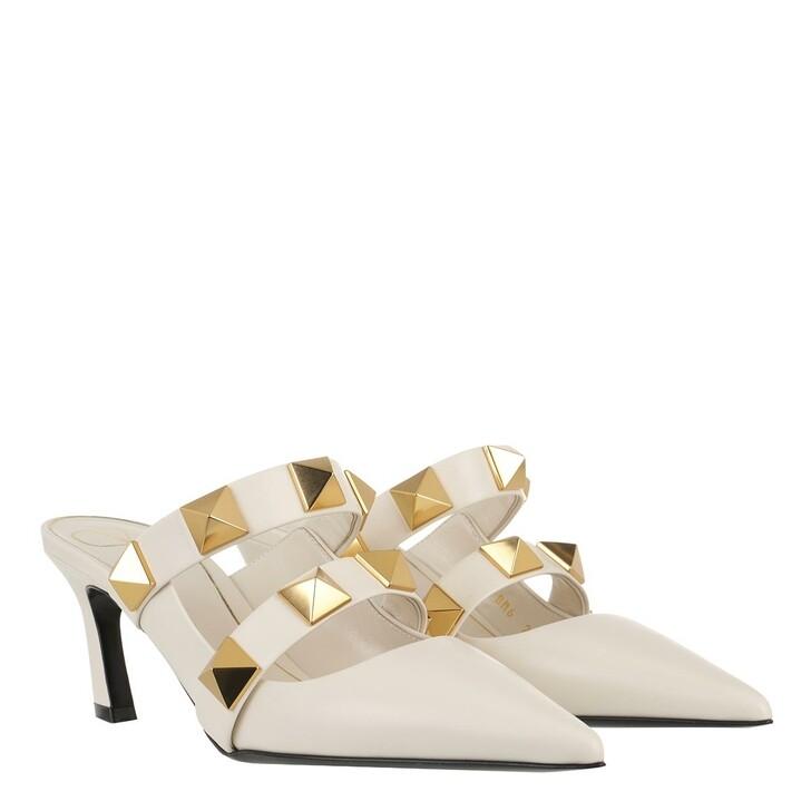 Schuh, Valentino Garavani, Roman Stud Mules Leather Ivory