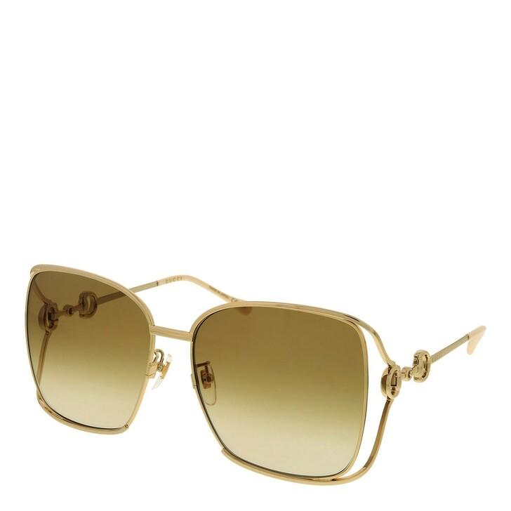 sunglasses, Gucci, GG1020S-004 61 Sunglass Woman Metal Gold-Gold-Brown