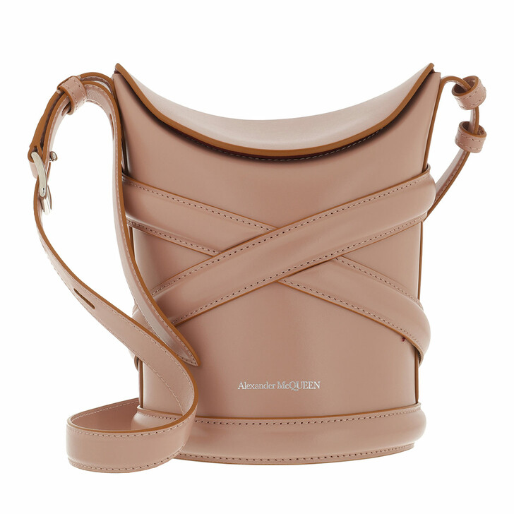 bags, Alexander McQueen, The Curve Bucket Bag Leather Rose Gold