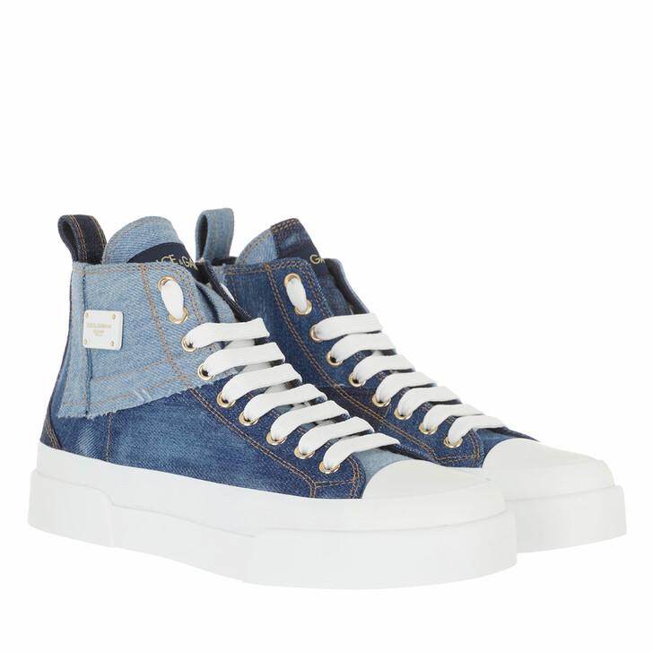 shoes, Dolce&Gabbana, High Top Portofino Light Sneakers Denim