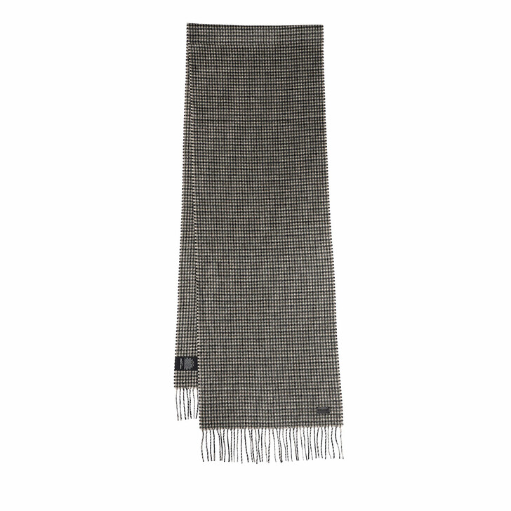 scarves, Saint Laurent, Fringed Checked Scarf Grey