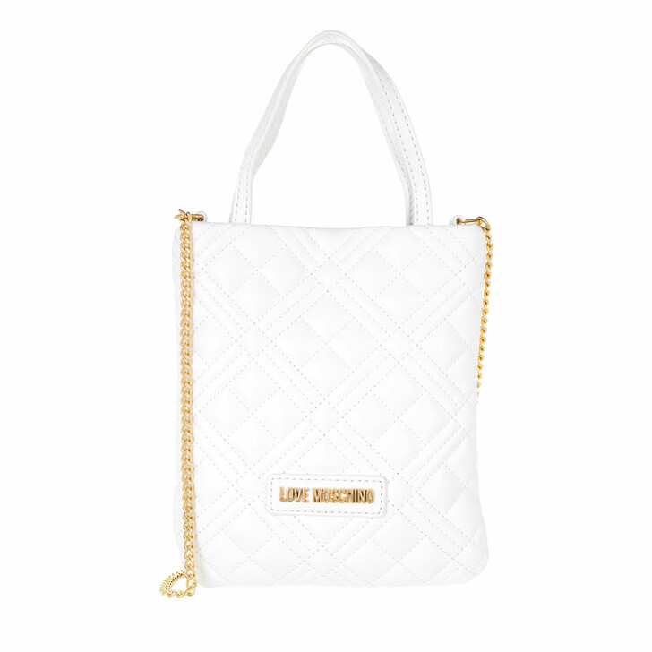 bags, Love Moschino, Borsa Quilted  Pu  Bianco