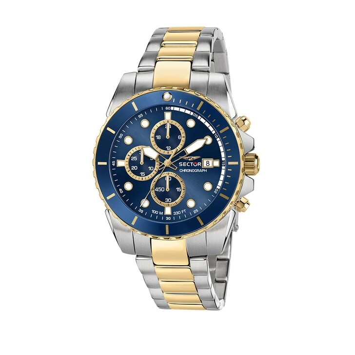 watches, Sector, 450 43Mm Chr Blue Dial Br SS+Yg Bicolor
