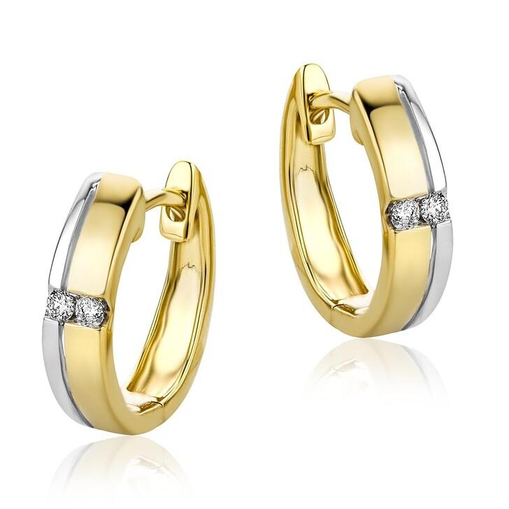 Ohrring, DIAMADA, Creole 0.06ct Diamond  14KT Bi Color Gold