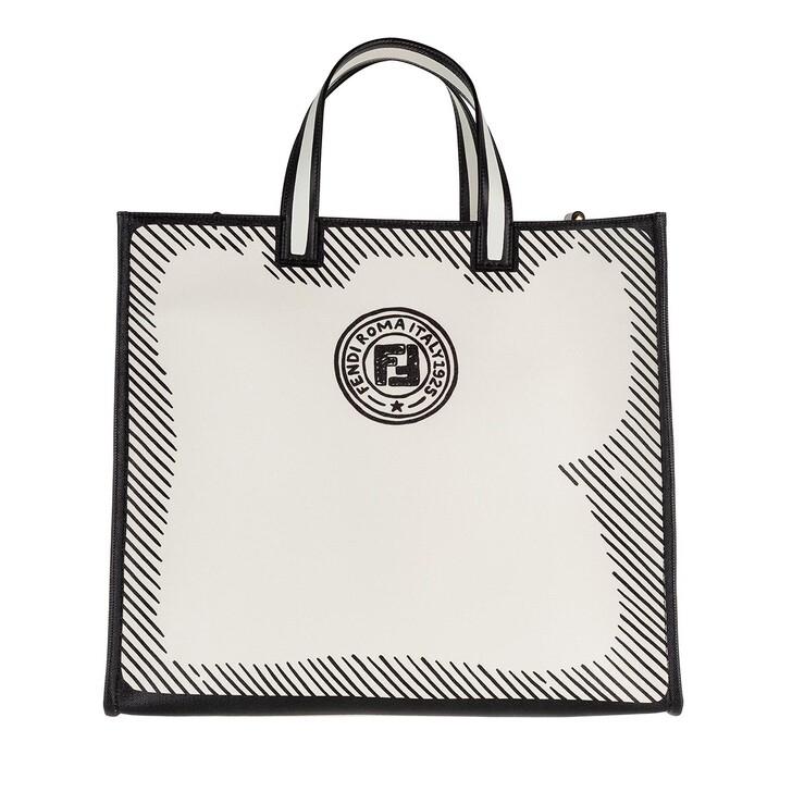 Handtasche, Fendi, Logo Print Shopping Bag White Black