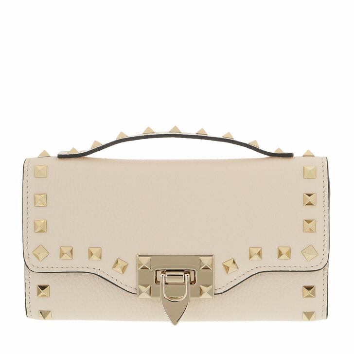wallets, Valentino Garavani, Rockstud Wallet On Chain Light Ivory
