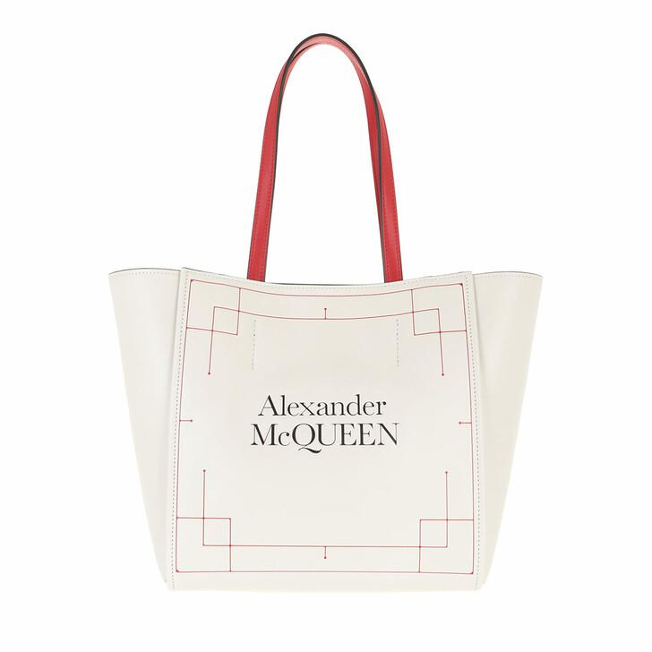 Handtasche, Alexander McQueen, Logo Shopping Bag Ivory/Red