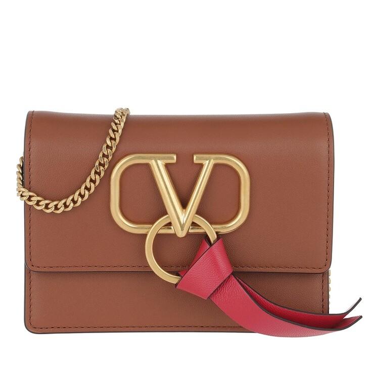 Handtasche, Valentino Garavani, V Ring Crossbody Bag Leather Selleria/Rouge Pur
