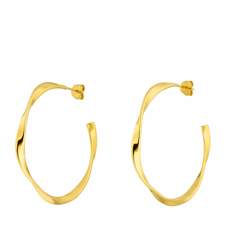 Ohrring, Leaf, Creole Twist 18K Yellow Gold-Plated