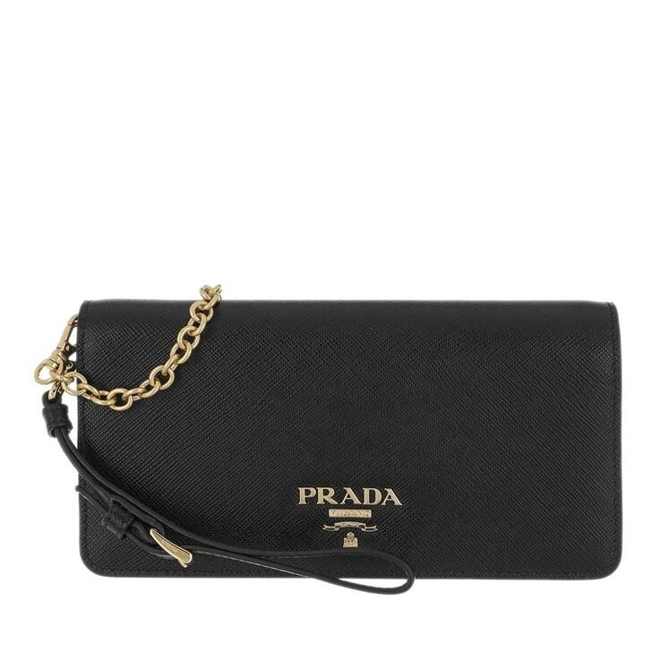 wallets, Prada, Mini Wallet On Chain Saffiano Lux Leather Black