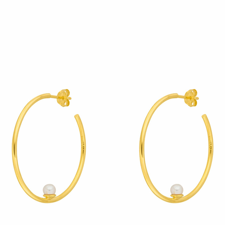 Ohrring, Leaf, Hoops Circle with Pearl Yellow Gold