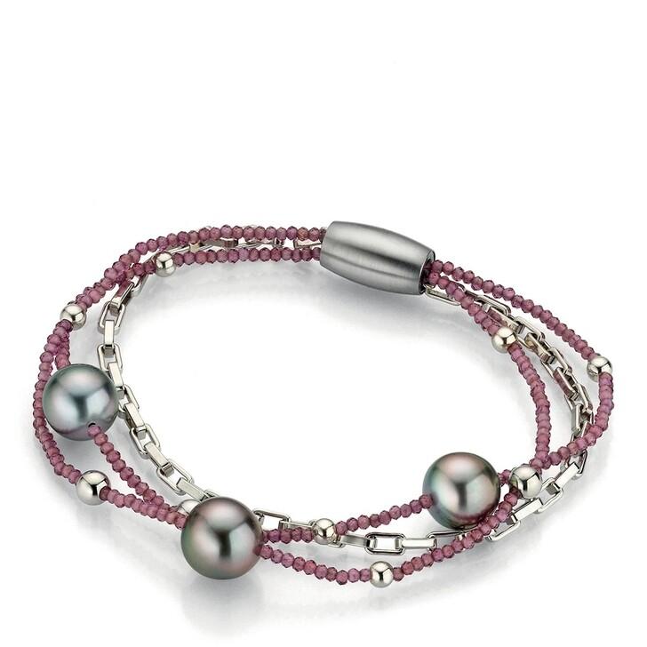 bracelets, Gellner Urban, Bracelet Rhodolite Tahiti Pearls Silver
