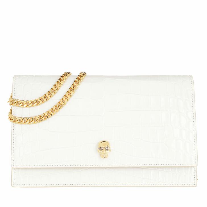bags, Alexander McQueen, Skull Crossbody Bag Patent Leather White