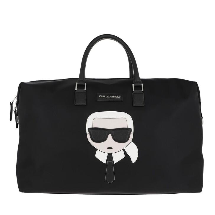 bags, Karl Lagerfeld, Iikonik Nylon Weekender Black