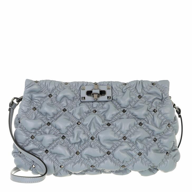 bags, Valentino Garavani, Spike Me Clutch Nappa Leather Grey