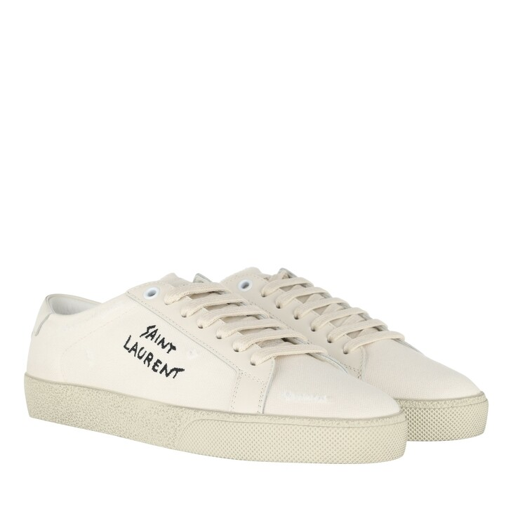 Schuh, Saint Laurent, Canvas Logo Sneaker Panna