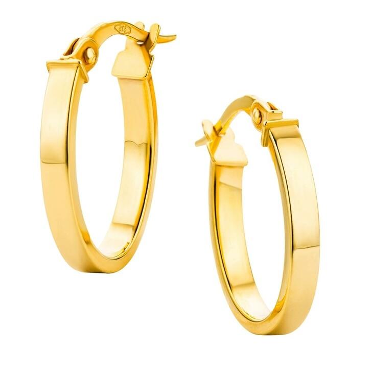 Ohrring, DIAMADA, 14KT Oval Creole Earring Yellow Gold