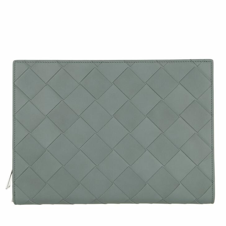 Reisetasche, Bottega Veneta, Intrecciato Document Case Leather Slate