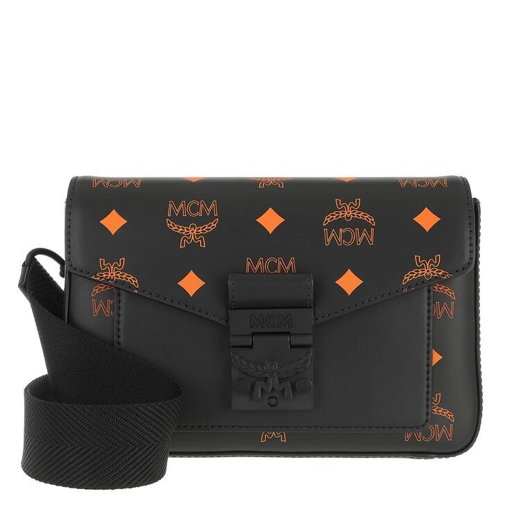 bags, MCM, Color Splash Logo Crossbody Small  Black