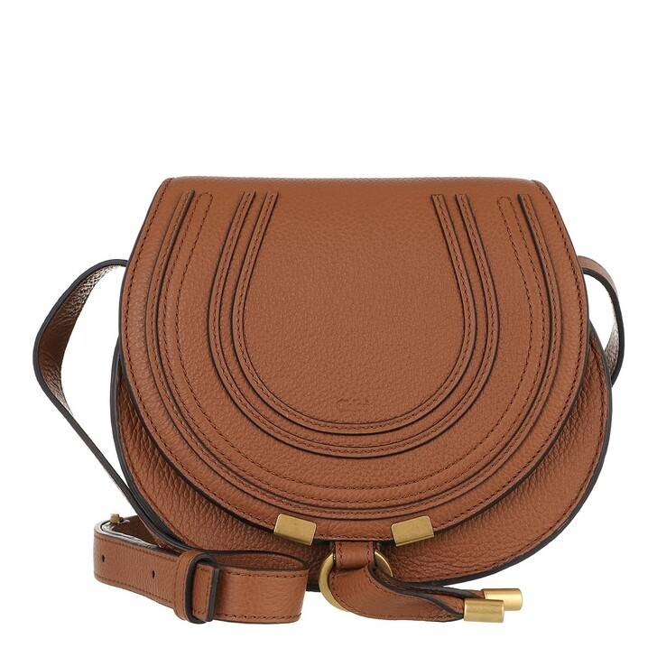 bags, Chloé, Small Marcie Shoulder Bag Grained Leather Tan