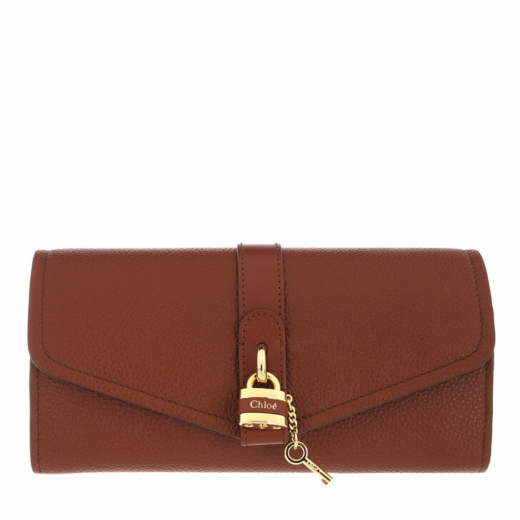 Geldbörse, Chloé, Long Wallet With Flap Sepia Brown