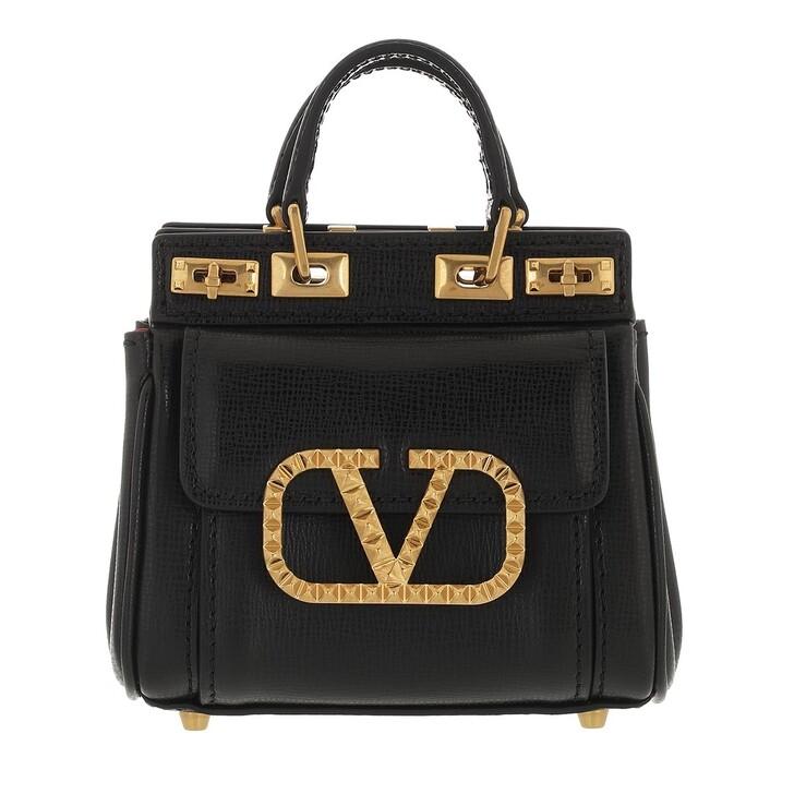 bags, Valentino Garavani, Rockstud Alcove Mini Handle Bag Black