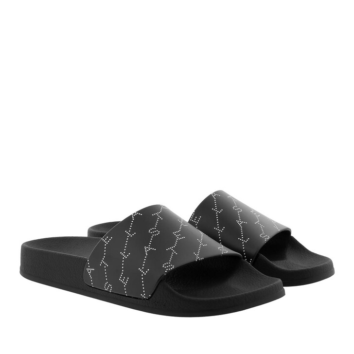 Schuh, Stella McCartney, Monogram Strap Slides Black/White