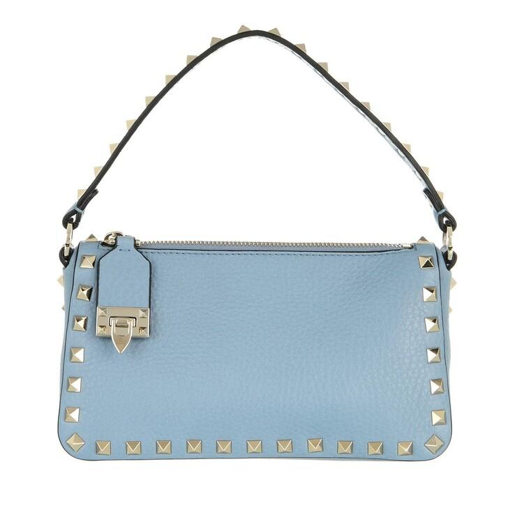bags, Valentino Garavani, Small Rockstud Satchel Bag Leather Niagara Blue Niagara Blue