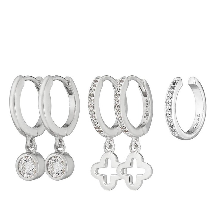 earrings, Leaf, Set Earcuff and Creoles Zirconia and Clover Silver
