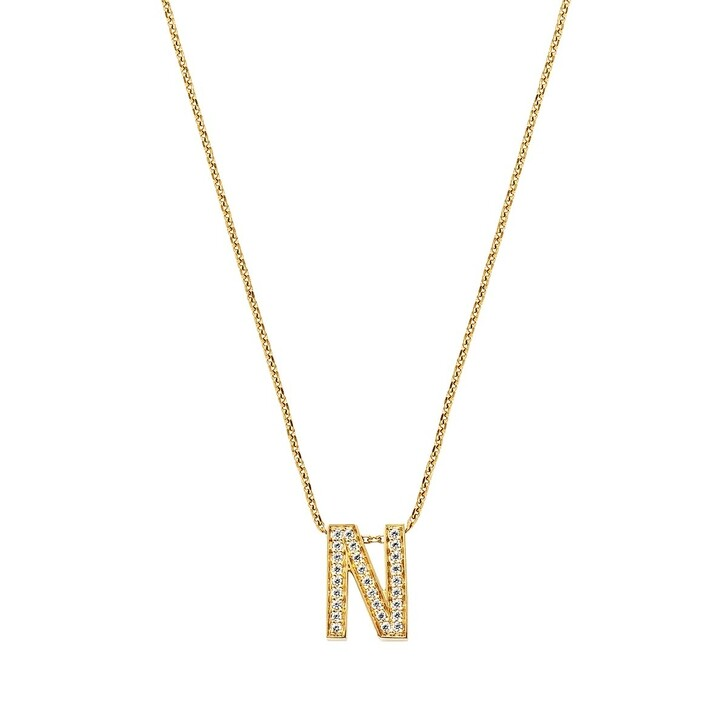 Kette, BELORO, Necklace Letter N Zirconia Gold-Plated