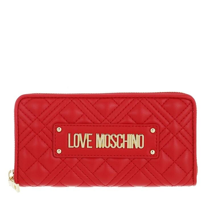 Geldbörse, Love Moschino, Portafogli Quilted Nappa Pu  Rosso