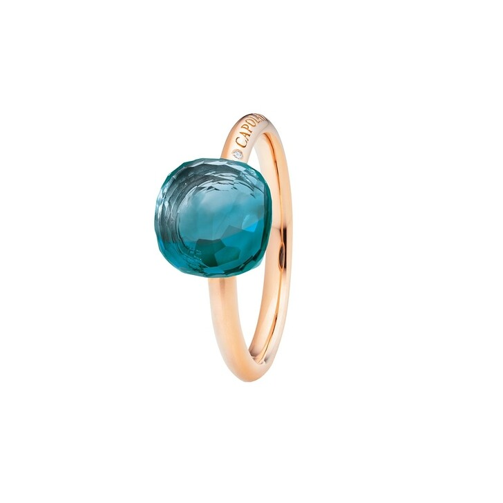 Ring, Capolavoro, Ring Happy Holi Topas London Blue Cabochon Rosegold